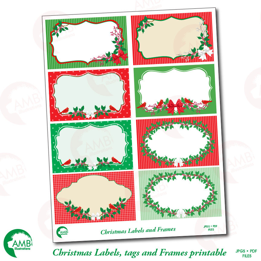 image regarding Christmas Labels Printable named Xmas Clipart, Xmas Electronic Tags, AMB-1500 AMBillustrations