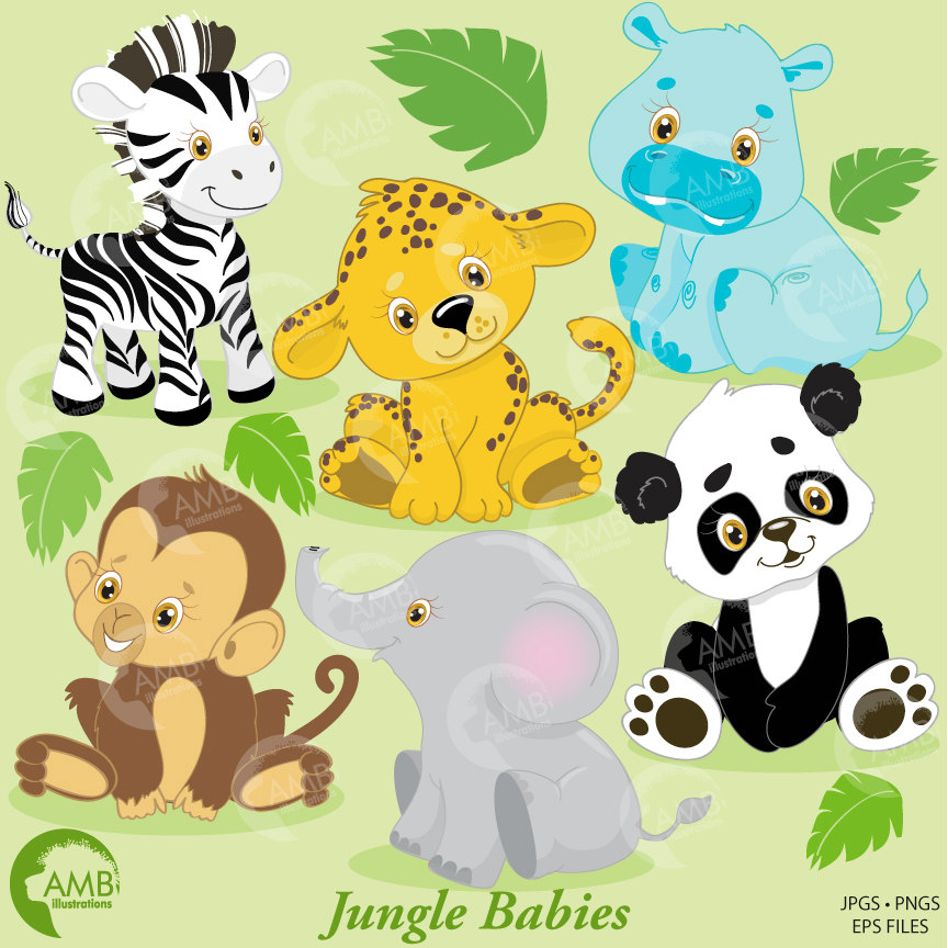 Combo Jungle Animals Clipart And Digital Papers Animal Babies Baby