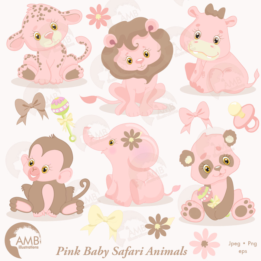 Jungle Animals Clipart Jungle Animal Babies Pink Baby Animals
