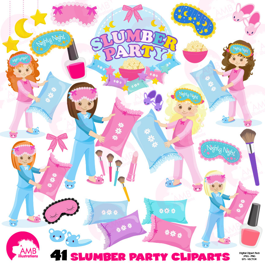 Slumber party girls sleep over pyjama party clipart Birthday
